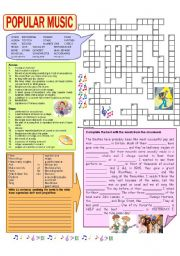 English Worksheet: Popular music crossword - the Beatles