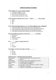 english worksheets advanced grammar vocabulary. Black Bedroom Furniture Sets. Home Design Ideas