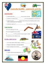 English Worksheet: AUSTRALIA  - An information gap-fill activity - Pairwork activity - No. 2