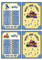 English Worksheets: WHO ARE THEY? - DESCRIPTION CARDS