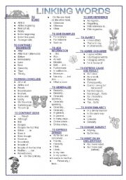 English Worksheet: LINKING WORDS