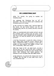 English Worksheets: CHRISTMAS DAY! (reading)