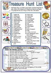 English Worksheet: Treasure Hunt / Scavenger Hunt: Indoors & Out