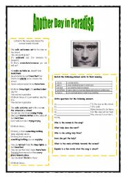 English Worksheets: Another Day in Paradise - Phil Colins