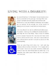 English Worksheet: LIVING WITH A DISABILITY
