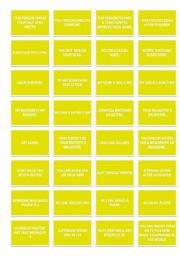 English Worksheet: TRIVIAL GAME: LAST SET OF CARDS