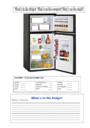 English Worksheet: In the fridge   On the counter      On the shelf