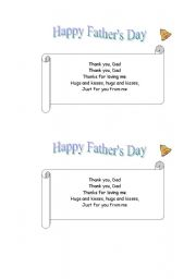 English Worksheet: Father�s day poem (jingle bells melody)