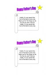 English Worksheet: FATHER´S DAY POEM Nº3 (TWINKLE LITTLE STAR MELODY)