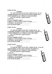 English Worksheets: cell phone