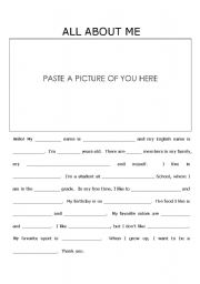 English teaching worksheets: Self introduction