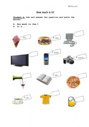 English Worksheets: Speaking activity -  How much is it? Student A