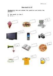 English Worksheets: Speaking activity -  How much is it? Student B