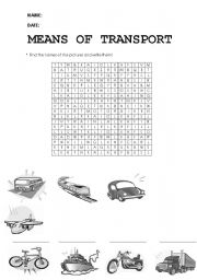 English Worksheet: means of transport wordsearch