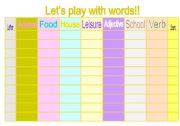 English Worksheets: Let�s play with words!