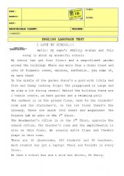 English Worksheet: English Language Test 6th grade