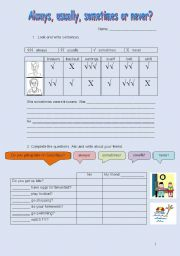 English Worksheets: Always, usually, sometimes or never?