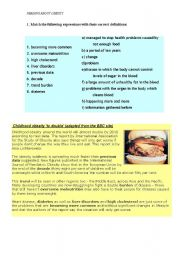 English Worksheet: READING : OBESITY IN CHILDREN (1st conditional)