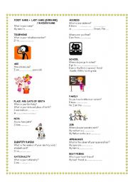 English Worksheets: WHAT IS YOUR NAME ? introducing yourself
