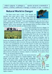 English Worksheets: Natural World in Danger