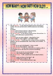 English Worksheet: HOW FAR; HOW LONG; HOW MANY; ...