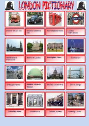London pictionary and written practice of the names of the attractions
