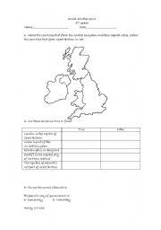 English Worksheet: The united kingdom quiz