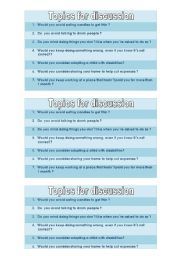 Topics for discussion [questions concerning verb + gerund structure]