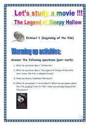 English Worksheets: Video time: SLEEPY HOLLOW (Tim BURTON) - Extract # 1 (COMPREHENSIVE PROJECT, Printer-friendly, 2 PAGES, 13 TASKS)