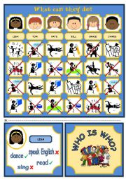 English Worksheet: WHO IS WHO? GAME (VERB CAN - PART 1)