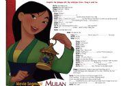 MULAN -SCRIPT ACTIVITY-MOVIE SEGMENT -1 PAGE