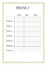 English Worksheets: Students behaviour grid