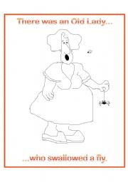 English Worksheet: There was an old lady who swallowed a fly.