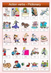 English Worksheet: Action verbs - Pictionary