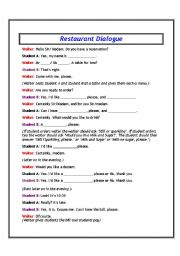 English Worksheet: Asking about a reservation and ordering food at a restaurant