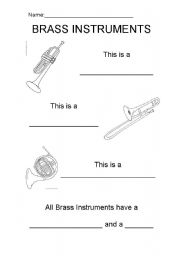 English worksheets: Brass Instruments