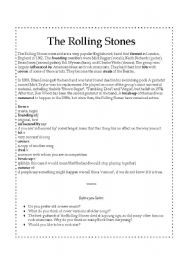English Worksheets: The Rolling Stones - Comprehension, Speaking and Listening