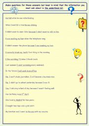 English Worksheets: Make questions for these answers.