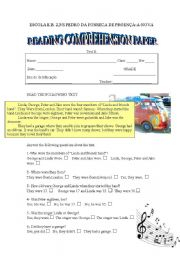 English Worksheets: Reading comprehension paper for N.E.E. students