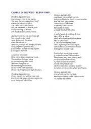 English worksheet: CANDLE IN THE WIND