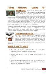 English Worksheet: AMISH  PARADISE - Weird Al Yankovic