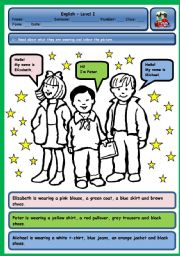 English Worksheet: WHAT ARE THEY WEARING? (CLOTHES AND COLOURS) - PART 2
