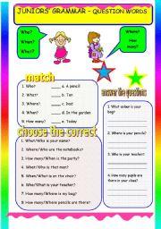 English Worksheets: JUNIORS� GRAMMAR - QUESTION WORDS