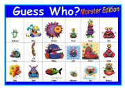 English Worksheet: Guess Who? - Monsters Edition