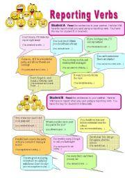 English Worksheet: Reporting verbs - Pairwork