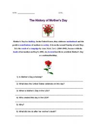 english worksheet the history of mother s day. Black Bedroom Furniture Sets. Home Design Ideas