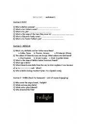 English worksheet: Twilight quiz worksheet 1