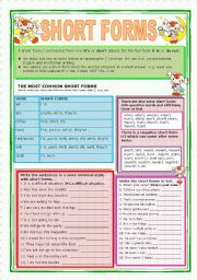 English Worksheet: SHORT FORMS