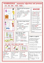 English Worksheet:  POSSESSIVE ADJECTIVES AND PRONOUNS