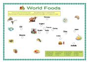 English Worksheet: Magical World food map